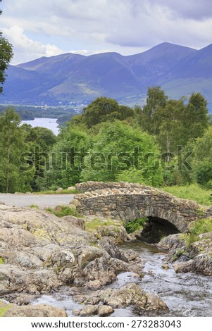 Ashness Bridge in the lake district UK - stock photo