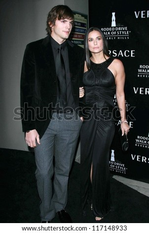 Ashton Kutcher and Demi Moore at the celebration for The Rodeo Drive Walk of Style Award given to Gianni and Donatella Versace. Beverly Hills City Hall, Beverly Hills, CA. 02-08-07 - stock photo