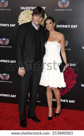 "Ashton Kutcher and Demi Moore at the Los Angeles Premiere of ""Valentine's Day"" held at the Grauman's Chinese Theate in Hollywood, California, United States on February 8, 2010.  - stock photo"