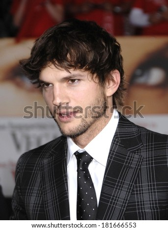 Ashton Kutcher, wearing Gucci, at Premiere of WHAT HAPPENS IN VEGAS, Mann's Village Theatre in Westwood, Los Angeles, CA, May 01, 2008 - stock photo