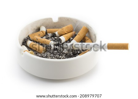 Ashtray and smoked cigarettes  - stock photo