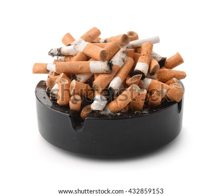 Ashtray full of cigarette butts  isolated on white - stock photo