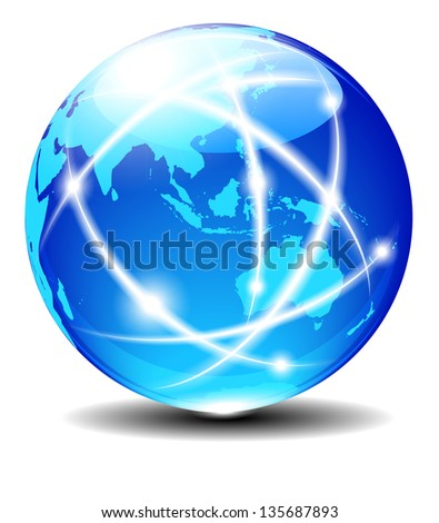 Asia and Australia, Global Communication Planet Data across the world with light lines - Elements of this image furnished by NASA - The map was traced manually using the pen tool - Raster Version - stock photo