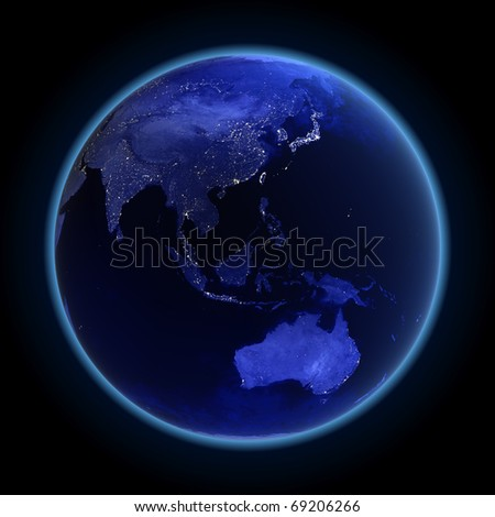 Asia and Australia. Maps from NASA imagery - stock photo