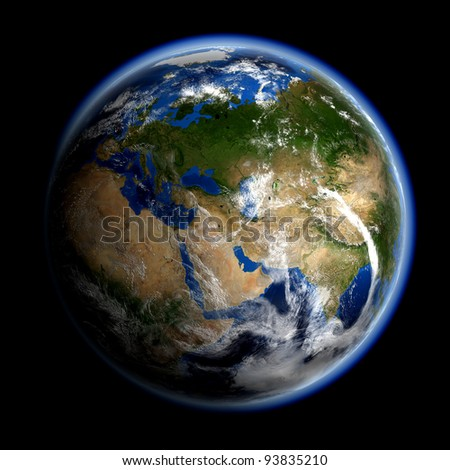 Asia and Europe. Elements of this image furnished by NASA. - stock photo