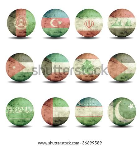 asia, australia and oceania flags set - part 2 - stock photo