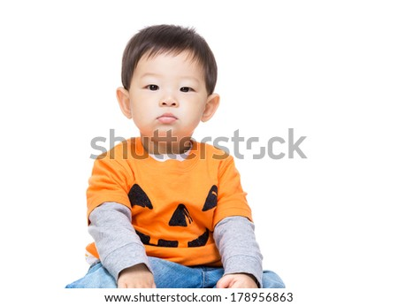 Asia baby boy with halloween dressing - stock photo