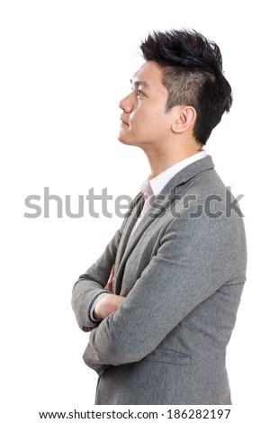 Asia businessman side profile - stock photo