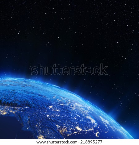Asia city lights. Elements of this image furnished by NASA - stock photo