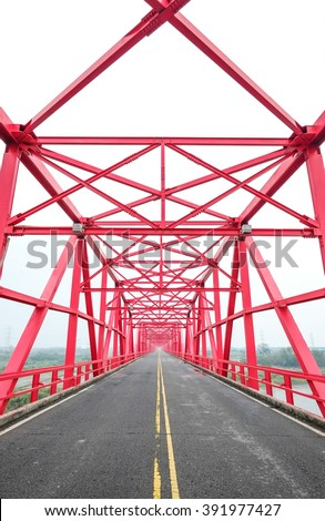 Asia concept image - symmetrical red steel structure construction of bridge in Xiluo, Taiwan - stock photo