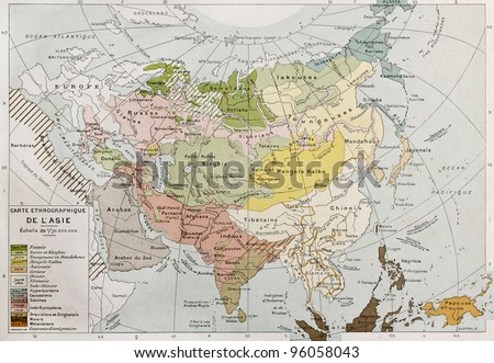 Asia ethnographic map. By Paul Vidal de Lablache, Atlas Classique, Librerie Colin, Paris, 1894 (first edition) - stock photo