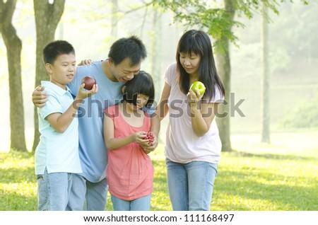 asia family outdoor - stock photo