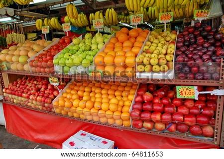Asia fruit market - stock photo