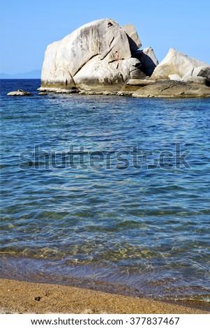 asia  kho tao coastline bay isle   big  rocks  froth foam  in thailand and south china sea  - stock photo
