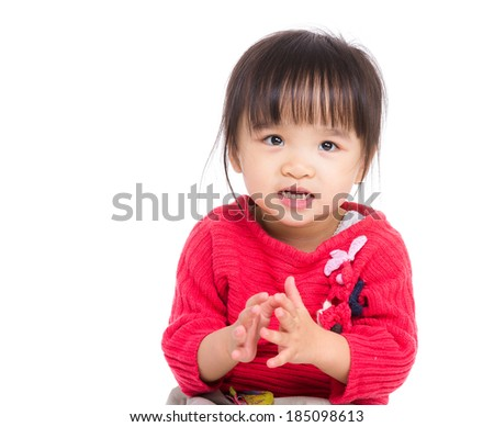 Asia little girl clapping hand - stock photo