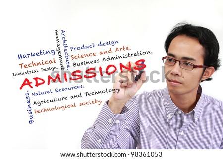 asia man writing Admissions of Faculty in University and other related words, on white board isolated on white background - stock photo