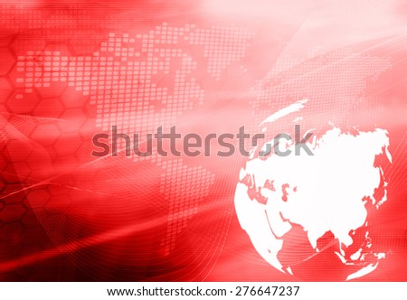 Asia map technology style artwork for your design - stock photo