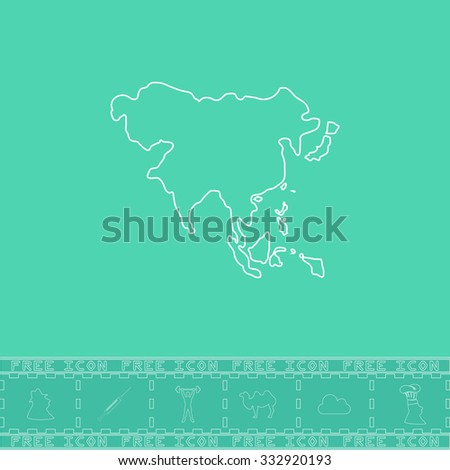 Asia map. White outline flat icon and bonus symbol. Simple illustration pictogram on green background - stock photo