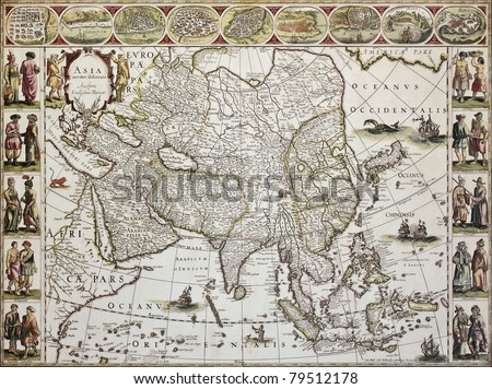 Asia old map. Created by Willem Bleau, published in Amsterdam, ca. 1650 - stock photo