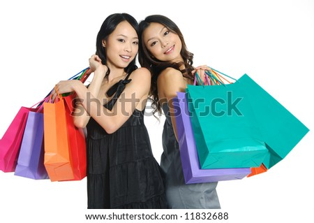 asia Shopping pretty woman with bags - stock photo