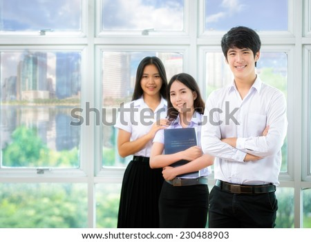 Asia students read in Library with uniform - stock photo