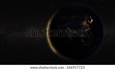 Asia view from space (Elements of this image furnished by NASA) - stock photo