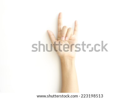 asia woman hand sign I love you symbol on a white background - stock photo