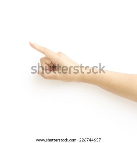 asia woman Hand touching virtual screen on a white background - stock photo