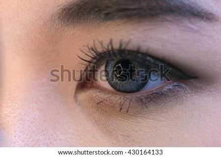 asia woman having eye test. eye test machine. (closeup woman's eye) - stock photo