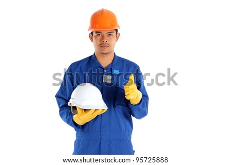 asia worker with Construction safety helmet concept - stock photo