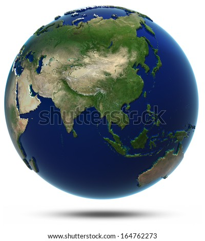Asia world map. Elements of this image furnished by NASA - stock photo
