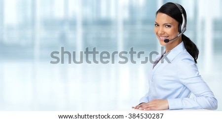Asian agent woman with headsets. - stock photo