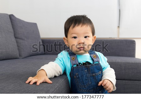 Asian baby boy at home - stock photo