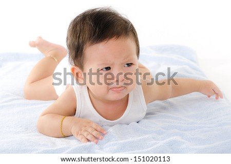 Asian Baby Boy Cry Isolated On The White Background. - stock photo