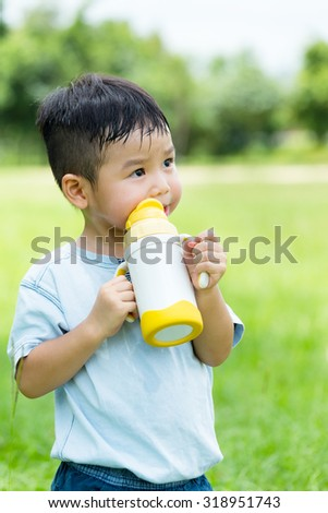 Asian Baby boy drink water - stock photo
