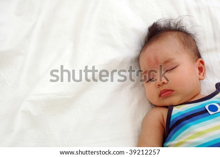 asian baby sleeping - stock photo
