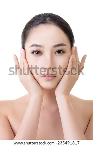 Asian beauty face, concept of glamour, makeup, healthcare etc. - stock photo