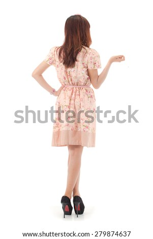 Asian beauty full length portrait isolated on white background. - stock photo