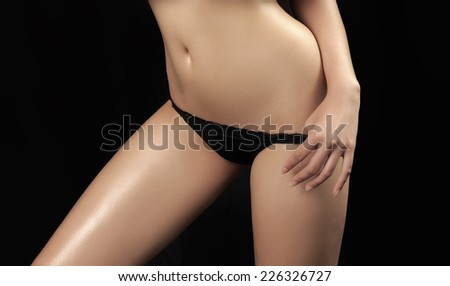 Asian beauty,sexy woman model on black background - stock photo