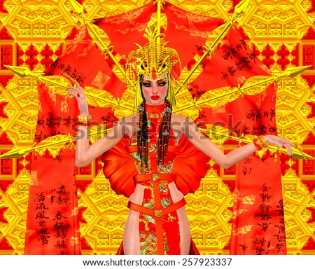 Asian beauty with red and gold fantasy outfit and background. Her beautiful cosmetics and fantastic dress make a statement of elegance, power and seduction. Great for any Asian beauty themed project. - stock photo