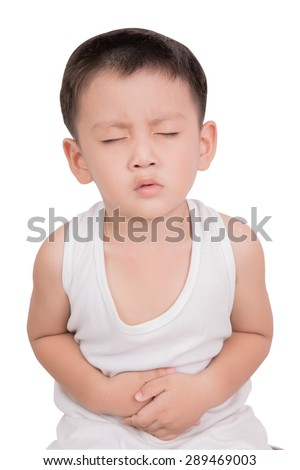 Asian boy have stomachache isolate on white background - stock photo