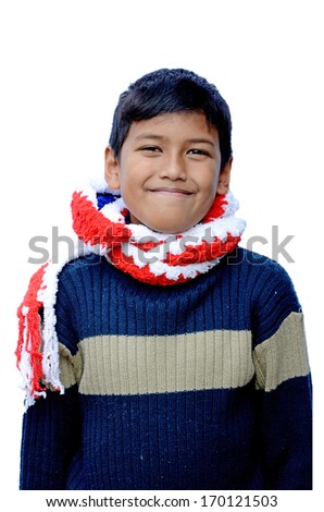 Asian boy in sweater isolated on white background with clipping path. - stock photo