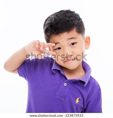 Asian boy's bright face isoalated on white. - stock photo