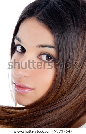 asian brunette indian woman with long hair closeup portrait - stock photo