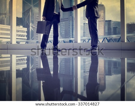 Asian Business Handshake Agreement Partnership Concept - stock photo