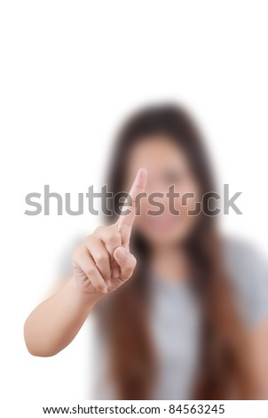 Asian business lady pushing on the whiteboard. - stock photo