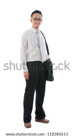 asian business  male with bag ,full body, smiling - stock photo