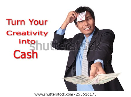 Asian Business man get the light bulb of idea and turn creativity into cash with earn  United States Dollars - stock photo