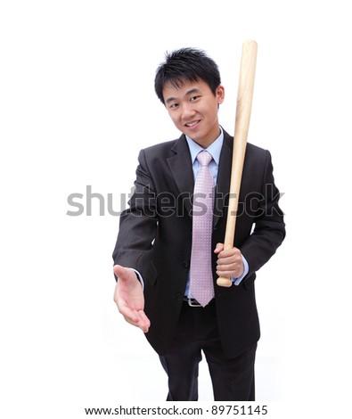 Asian Business man handshake and holding baseball bat - stock photo