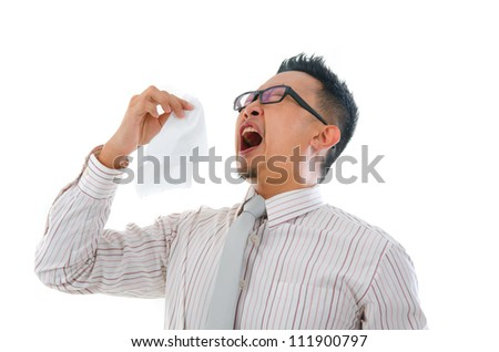 asian business man having a sick flu - stock photo